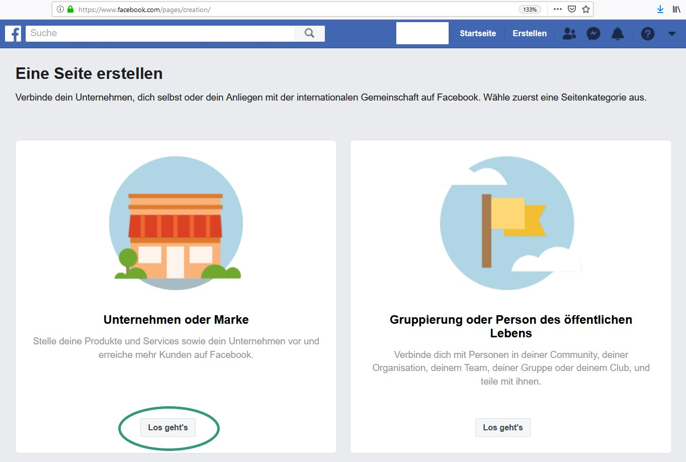 Facebook Unternehmensseite eröffnen